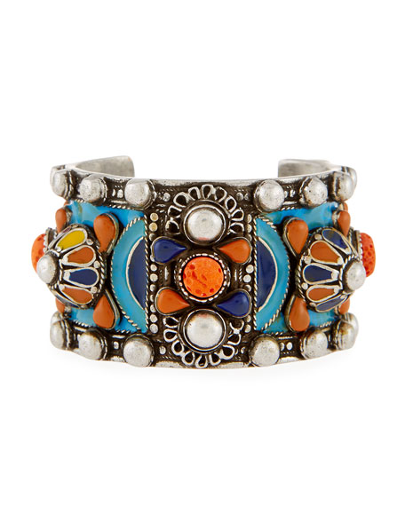 Saint Laurent Marrakech Enameled Wide Cuff Bracelet