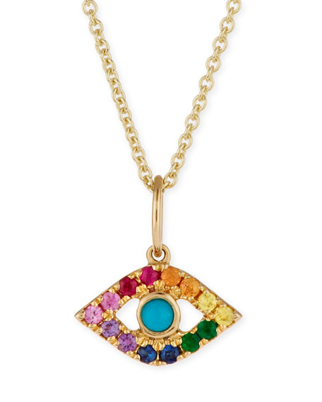14k Small Rainbow Sapphire Evil Eye Pendant Necklace