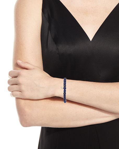 14k Lapis Beaded Stretch Bracelet w/ Saturn Charm