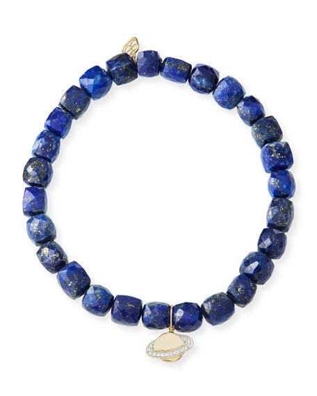 Sydney Evan 14k Lapis Beaded Stretch Bracelet w/