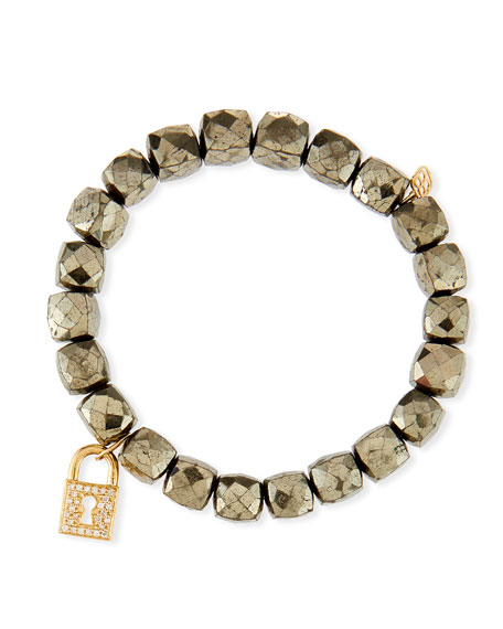 Sydney Evan 14k Pyrite Beaded Stretch Bracelet w/