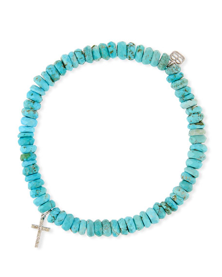 Sydney Evan 14k Turquoise Beaded Stretch Bracelet w/
