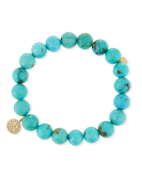 14k Turquoise Beaded Stretch Bracelet w/ Happy Face