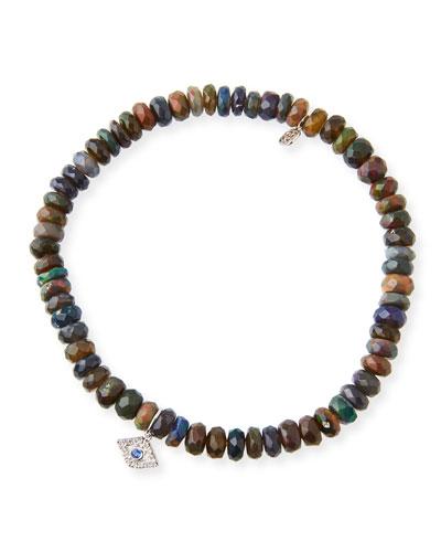 14k Ethiopian Opal Beaded Stretch Bracelet w/ Evil Eye