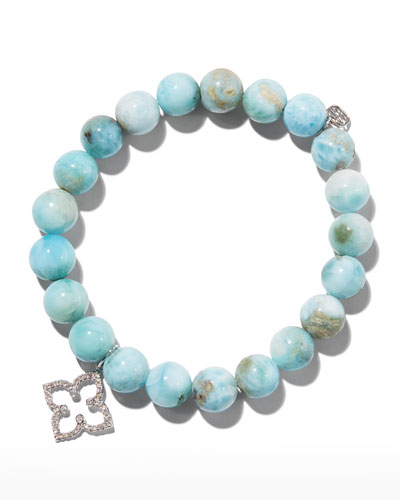 14k Larimar Beaded Stretch Bracelet w/ Moroccan Star