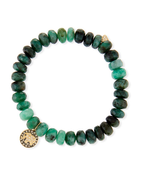 Sydney Evan 8mm Emerald Bead & 14k Elephant
