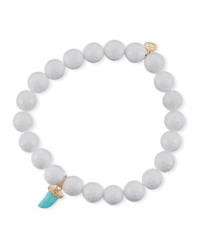 14k Agate Beaded Stretch Bracelet w/ Turquoise Horn