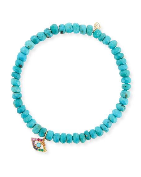 Sydney Evan 4mm Turquoise Beaded Bracelet with Rainbow