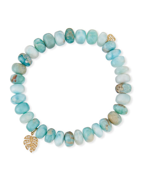 Sydney Evan 8mm Larimar Bead & 14k Monstera