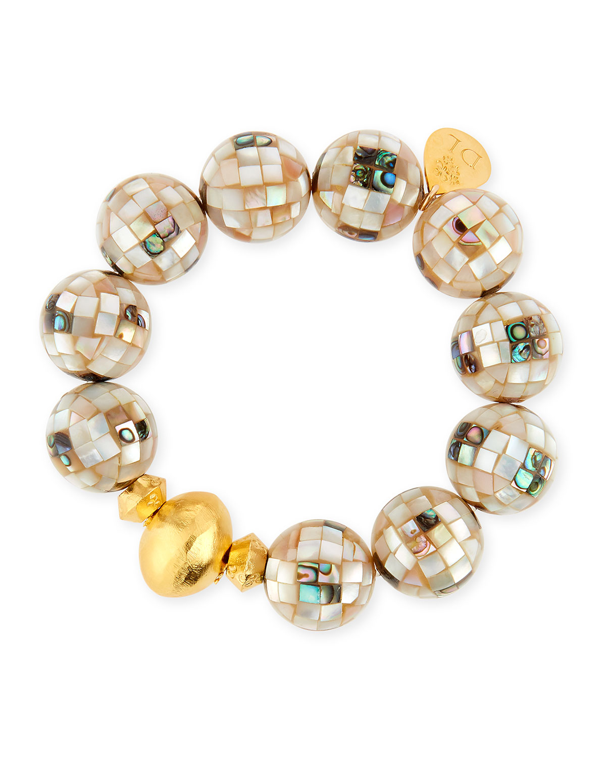 Devon Leigh 18k Gold-Plated Pearlescent Bead Bracelet