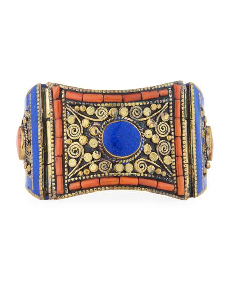 Antiqued Lapis & Coral Cuff Bracelet