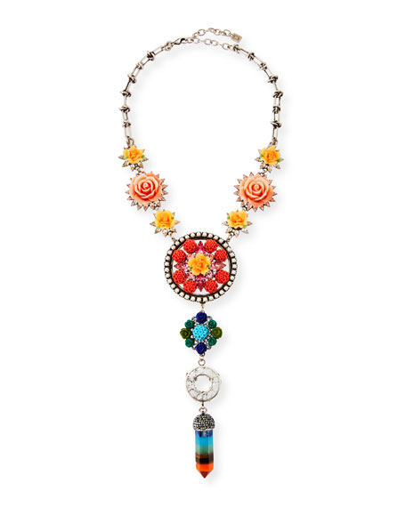 Dannijo Peony Floral Statement Y-Drop Necklace