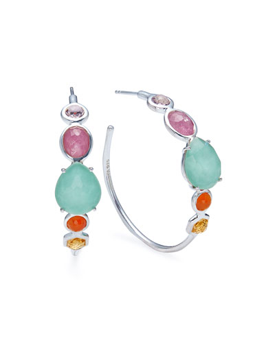 Rock Candy Mixed-Stone Hoop Earrings