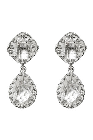 Larkspur & Hawk Jane Double-Drop Earrings with White Foil