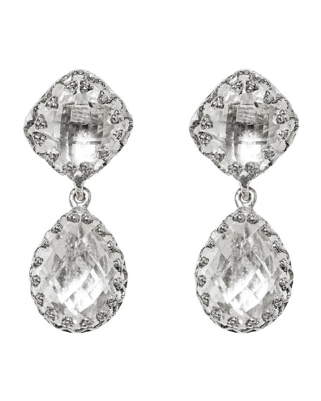 Jane Double-Drop Earrings with White Foil