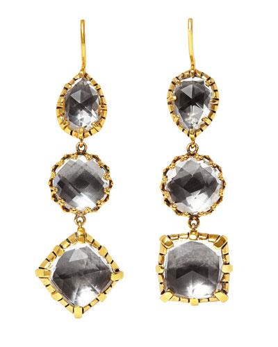 Sadie Triple-Drop Earrings with Gray Foil