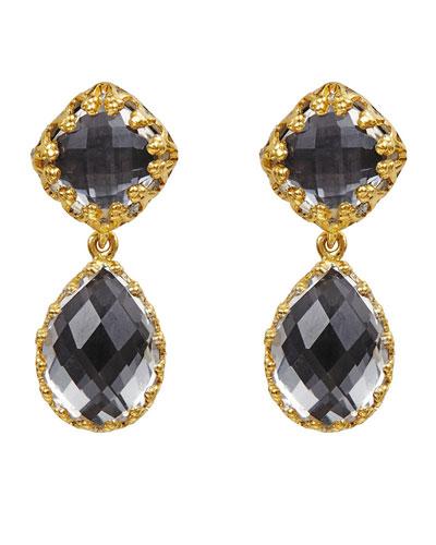 Jane Double-Drop Earrings with Gray Foil