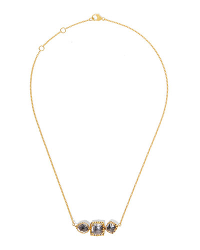 Sadie Three-Station Necklace in Gray Foil