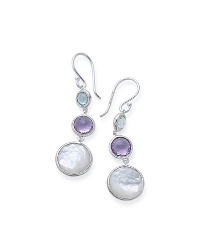 Small Silver Lollitini Three-Stone Earrings in Eclipse