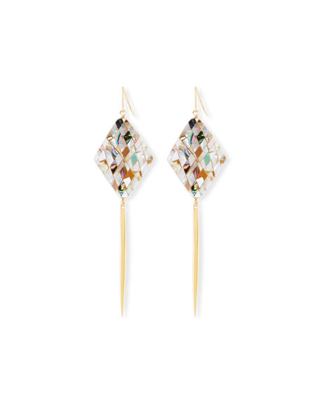 Mosaic Shell Spike Drop Earrings
