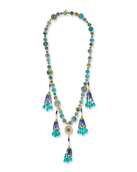 Devon Leigh Long Turquoise & Lapis Tassel Necklace