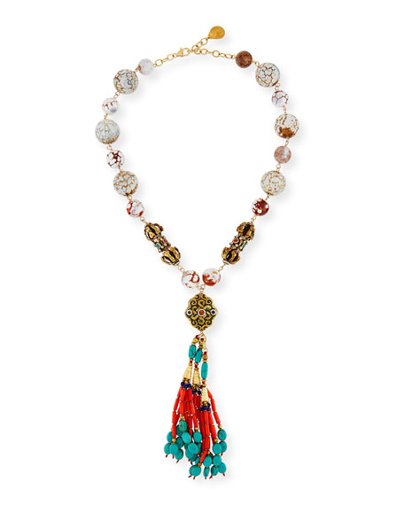 Devon Leigh Beaded Coral & Turquoise Tassel Necklace