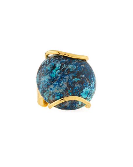Devon Leigh Adjustable Round Chrysocolla Ring