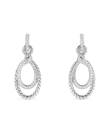 David Yurman Continuance Diamond Drop Link Earrings