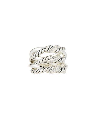 Continuance® Silver Three-Row Ring w/ Diamonds