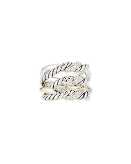 David Yurman Continuance?? Silver Three-Row Ring w/ Diamonds