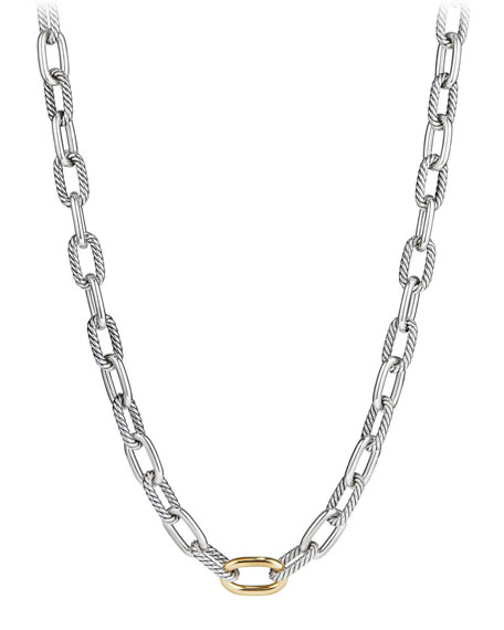 Madison Chain 11mm Medium Link Necklace w/ 18k Link, 18""