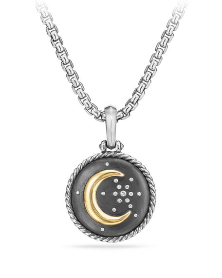 Moon & Star Two-Tone Diamond Amulet