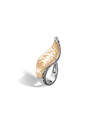 18k Classic Chain Open Wave Hammered Ring, Two-Tone