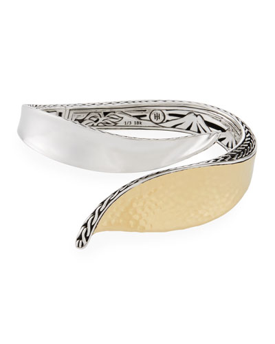 18k Classic Chain Hammered Wave Hinged Bangle
