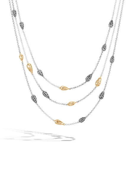 18k Classic Chain Hammered Multi-Row Necklace