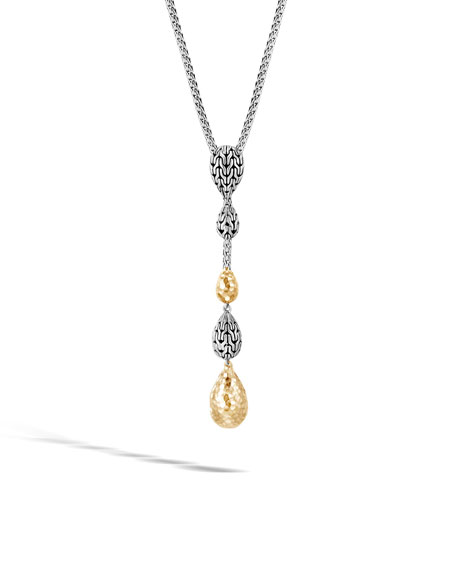 John Hardy 18k Classic Chain Hammered Y-Drop Necklace