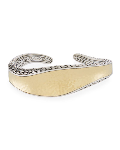 18k Classic Chain Hammered Wave Kick Cuff