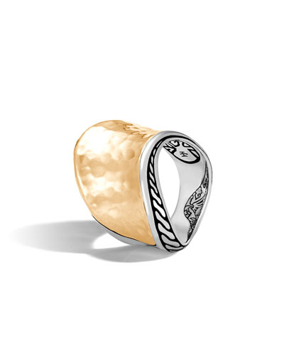 18k Classic Chain Wave Hammered Ring, Two-Tone