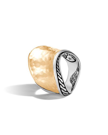 John Hardy 18k Classic Chain Wave Hammered Ring,
