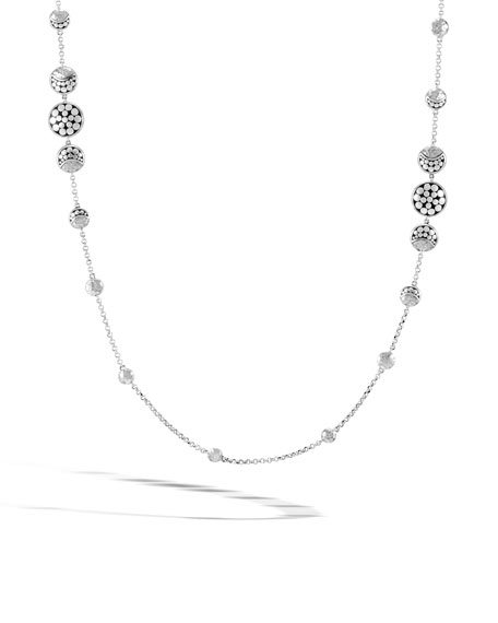 Dot Hammered Silver Moon Phase Station Necklace, 36""
