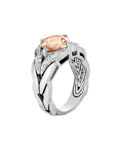 Modern Chain Magic-Cut Ring with Champagne Topaz & Diamonds