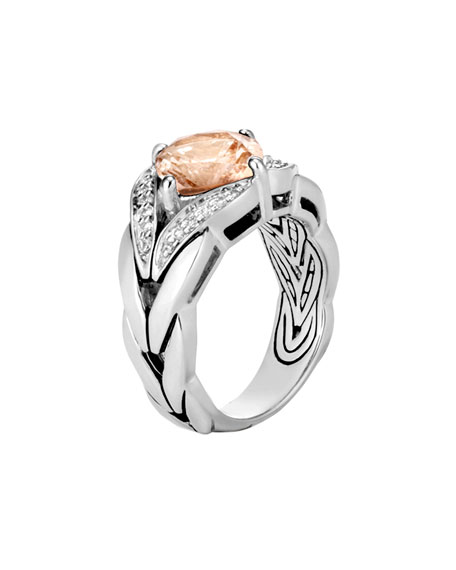 Modern Chain Magic-Cut Ring with Champagne Topaz & Diamonds