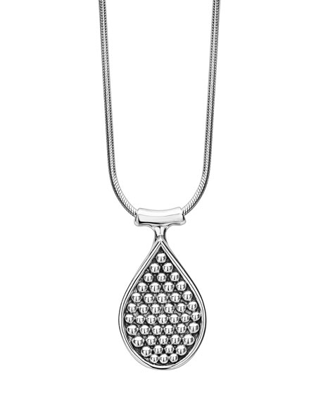 Bold Caviar Teardrop Pendant Necklace, 32""
