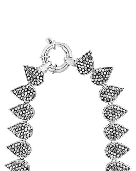 """Graduated Caviar Teardrop Collar Necklace, 18"""""""