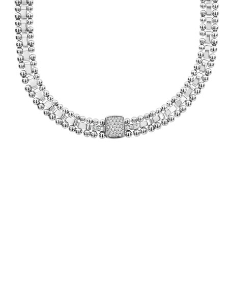 Lagos Caviar Spark Diamond Collar Necklace awPpBKin