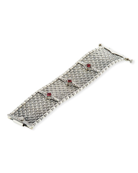 Hestia Wide Bangle Bracelet w/ Rhodolite Garnet