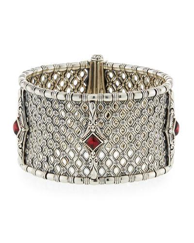 Hestia Wide Bangle Bracelet w/ Rhodolite Garnet