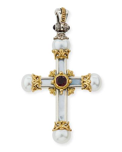 Hestia Mother-of-Pearl Cross Pendant