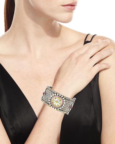 Hestia Hinged Wide Bangle Bracelet