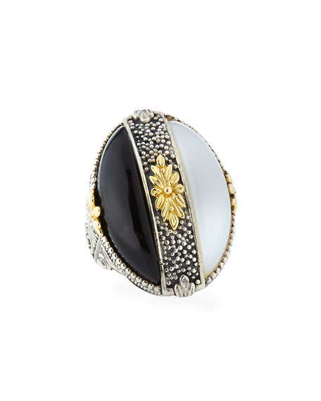 Thetis Two-Tone Agate Oval Ring